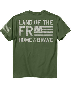 Buck Wear Men's Green Freedom Flag Short Sleeve Shirt , Hunter Green, hi-res