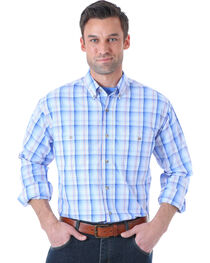 Wrangler Men's Rugged Wear Blue Plaid Long Sleeve Shirt , , hi-res