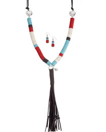 West & Co. Women's Beaded Disk Buffalo Leather Tassel Necklace Set, , hi-res