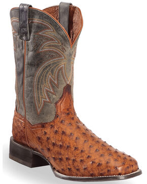 Dan Post Men's Calhoun Ostrich Exotic Boots, Cognac, hi-res