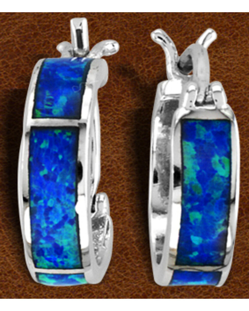 Kelly Herd Sterling Silver Blue Opal Hoop Earrings , Silver, hi-res