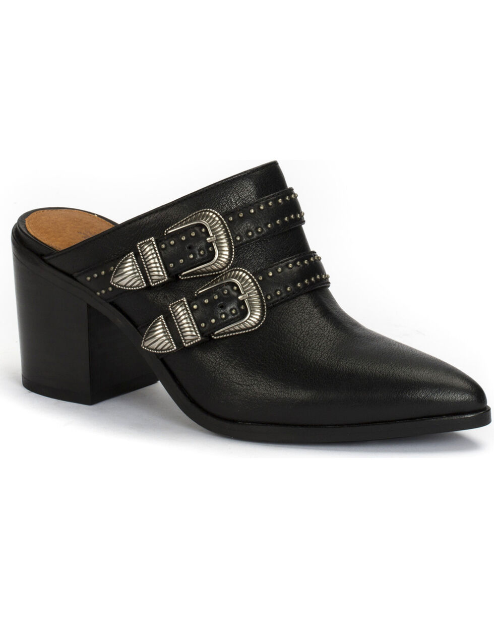 Frye Women's Flynn Belted Mule Shoes , Black, hi-res