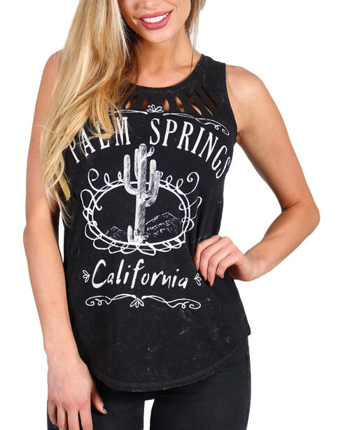 Recycled Karma Women's Distressed Palm Springs Sleeveless Top, Charcoal, hi-res