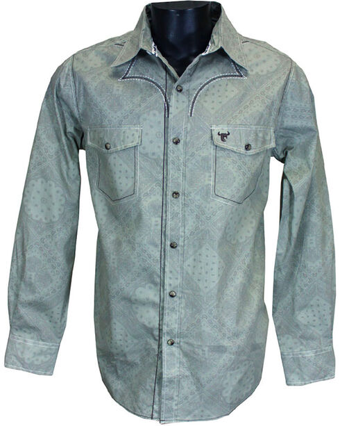Cowboy Hardware Men's Printed Long Sleeve Shirt, Beige/khaki, hi-res