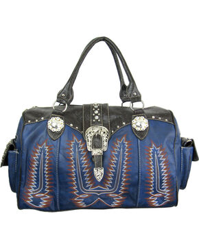 Savana Women's Navy Duffle Bag with Tooled Trim and Stitching, Navy, hi-res