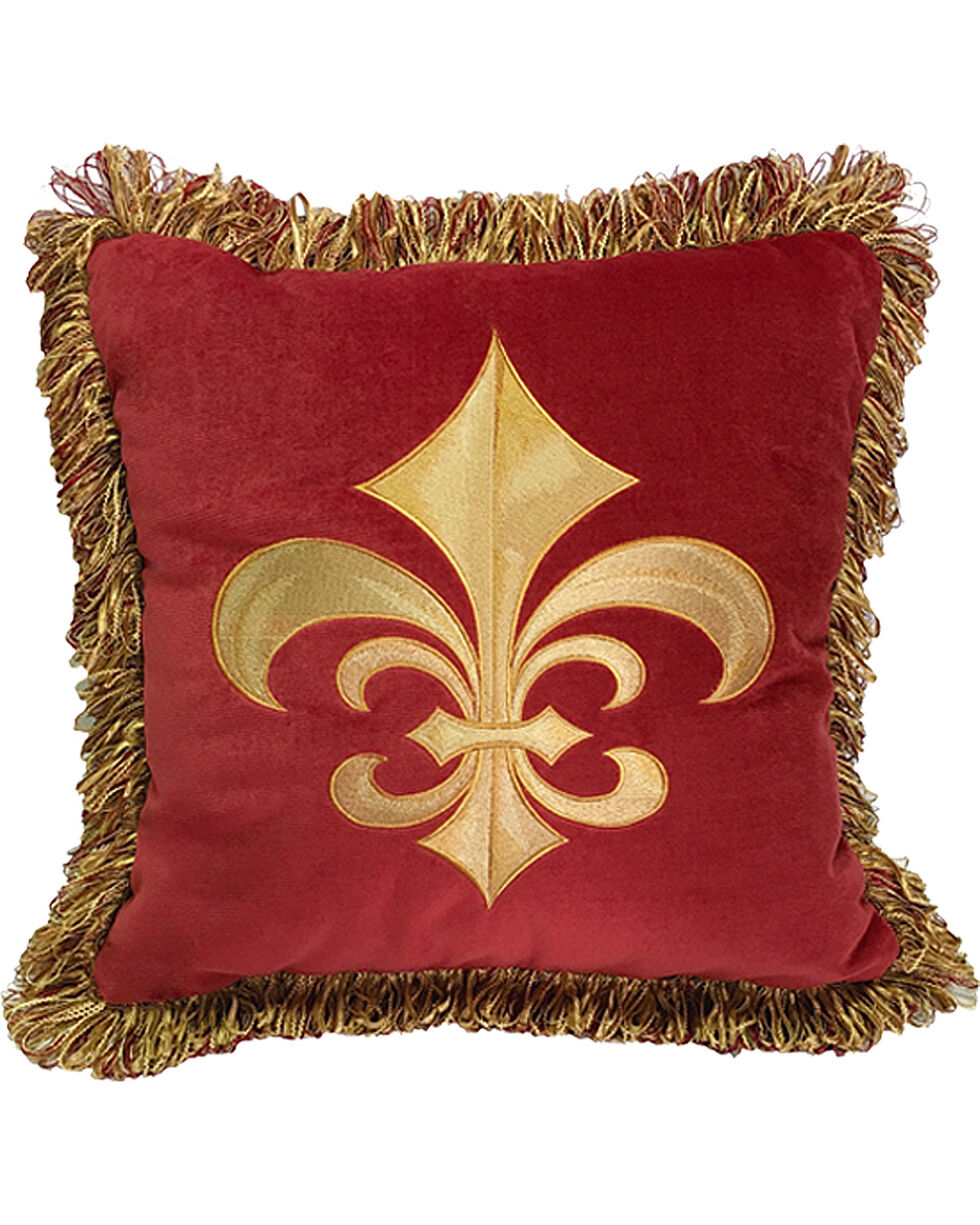 HiEnd Accents Multi Fleur De Lis Pillow , Multi, hi-res