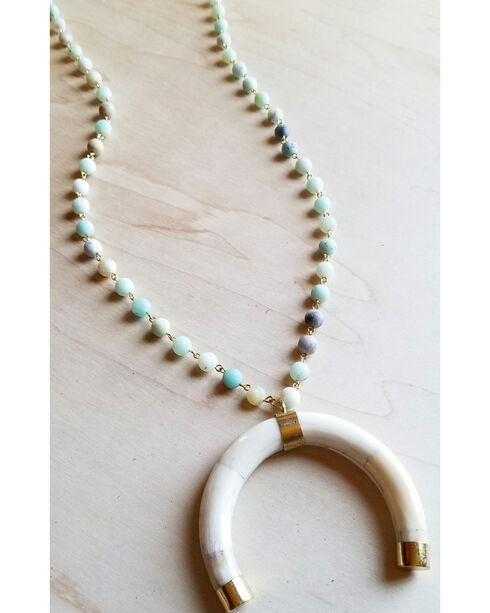 Jewelry Junkie Women's Amazonite Horn Crescent Necklace , White, hi-res