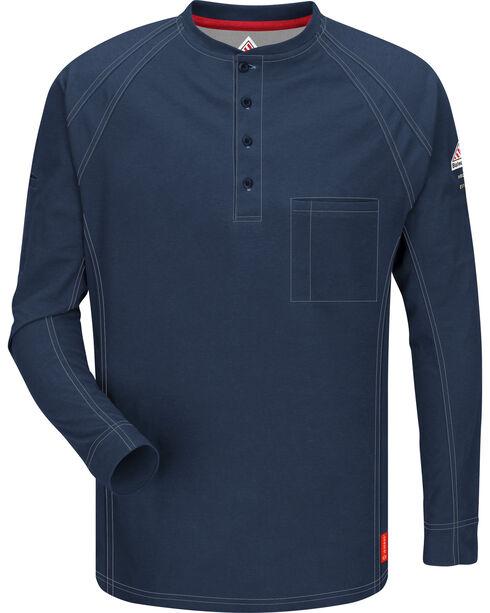 Bulwark Men's Dark Blue iQ Series Flame Resistant Henley Shirt , Dark Blue, hi-res