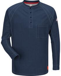 Bulwark Men's Dark Blue iQ Series Flame Resistant Henley Shirt - Big & Tall, , hi-res