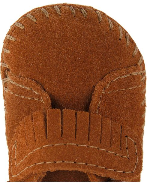 Minnetonka Infant Girls' Fringe with Velcro Strap Bootie, Brown, hi-res