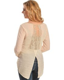 Petrol Women's Lace Back Long Sleeve High-Low Blouse, , hi-res