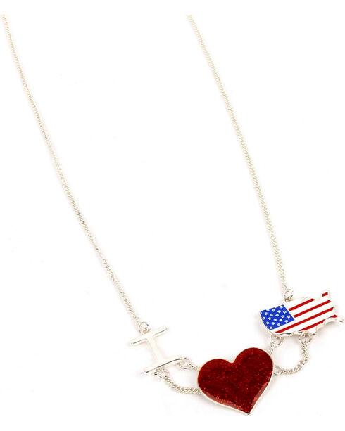 Ethel & Myrtle American Spirit Flag and Heart Necklace , Am Spirit, hi-res