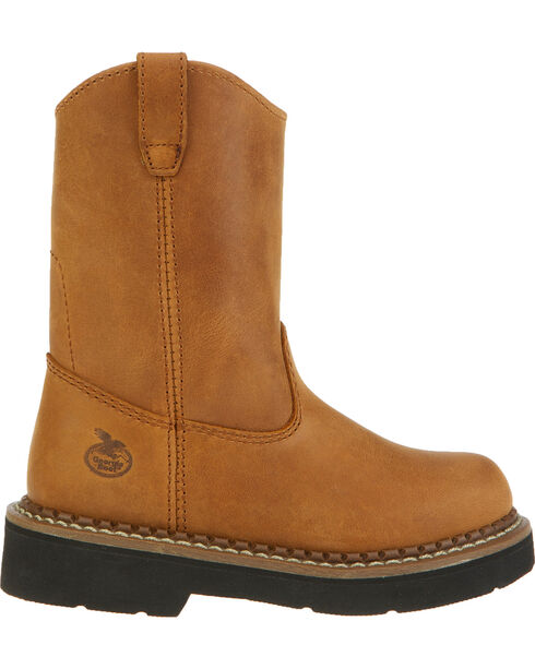 Georgia Wellington Kid's Boots - Round Toe, Brown, hi-res