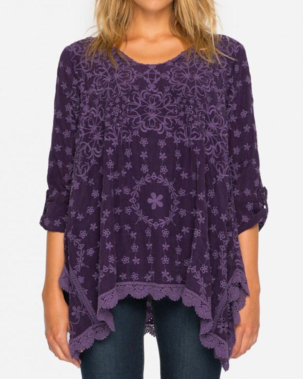 Johnny Was Women's Grape Jossimar Flowy Tunic, Purple, hi-res