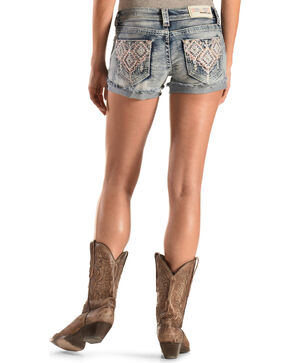 Grace in LA Aztec Embroidered Cutoff Shorts, Denim, hi-res