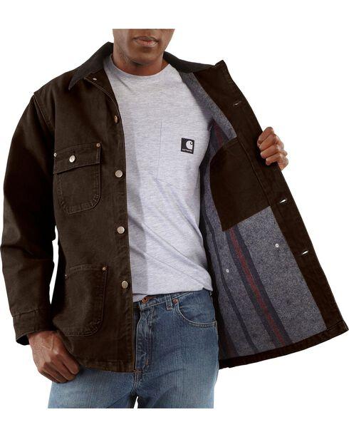 Carhartt Sandstone Chore Coat, Dark Brown, hi-res
