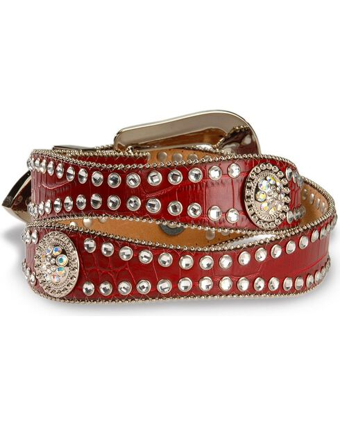 Blazin Roxx Red Croc Print Concho Bling Belt, Red, hi-res
