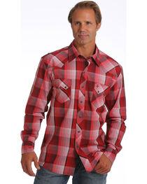 Garth Brooks Sevens by Cinch Men's Red Plaid Print Western Shirt, , hi-res