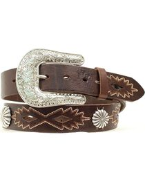 Nocona Women's Cut-Out & Concho Leather Belt, , hi-res