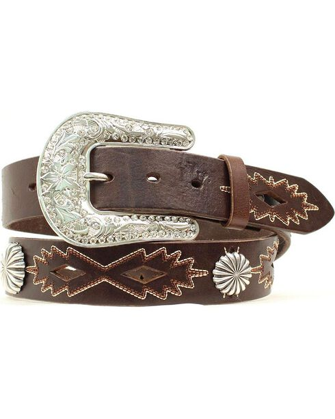 Nocona Women's Cut-Out & Concho Leather Belt, Brown, hi-res