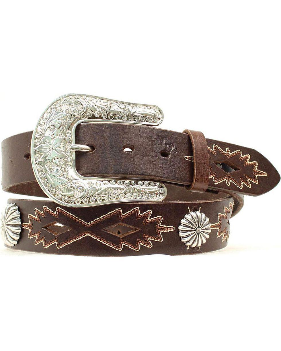 Nocona Women's Cut-Out & Concho Leather Belt, Brown, hi-res