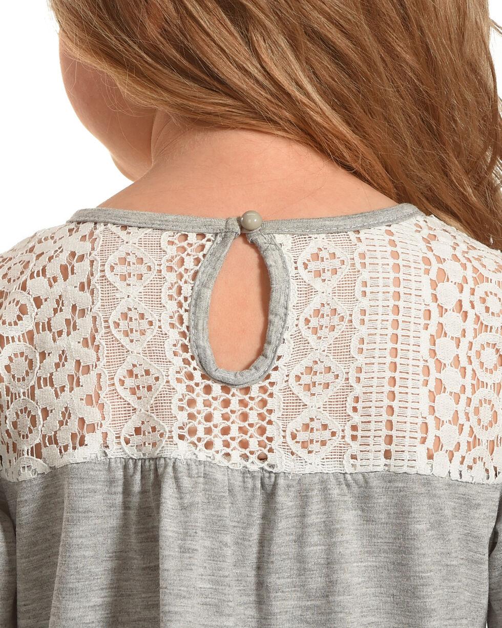 Speechless Girls' Lace Empire Waist Long Sleeve Knit Shirt, Grey, hi-res