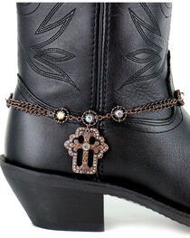 Shyanne® Women's Copper Cross Boot Bracelet , Brown, hi-res