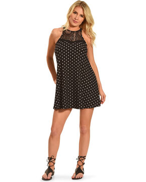 Derek Heart Women's Sleeveless Trapeze Print Lace Yoke Dress, Black, hi-res