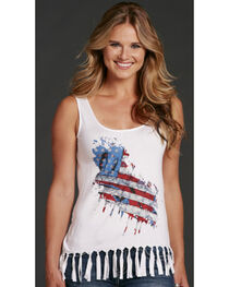 Cowgirl Up America Tank with Fringe, , hi-res