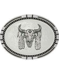 Montana Silversmiths New Traditions Four Directions Ceremonial Buffalo Skull Belt Buckle, , hi-res