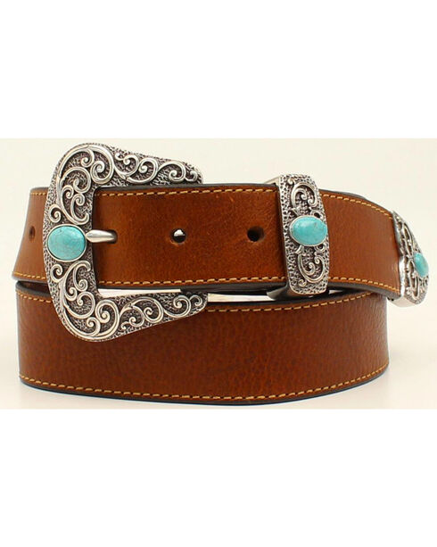 Ariat Women's Turquoise Filigree Buckle Leather Belt, Brown, hi-res