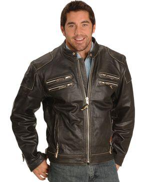 Interstate Leather Men's Gangster Motorcycle Jacket, Black, hi-res