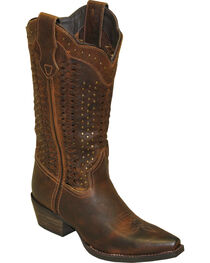 Rawhide by Abilene Scalloped and Weaving Western Boots - Snip Toe, , hi-res