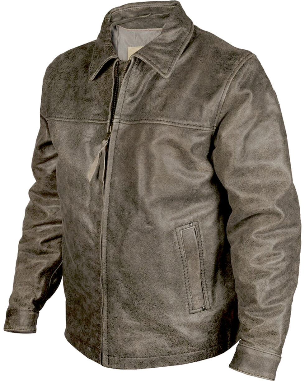 STS Ranchwear Men's Rustic Rifleman Leather Jacket, Black, hi-res