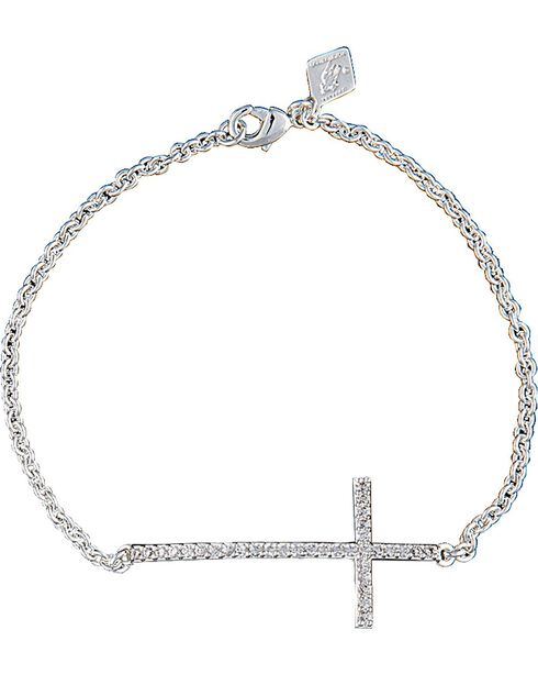 Montana Silversmiths Women's Straight Path Cross Bracelet, Silver, hi-res