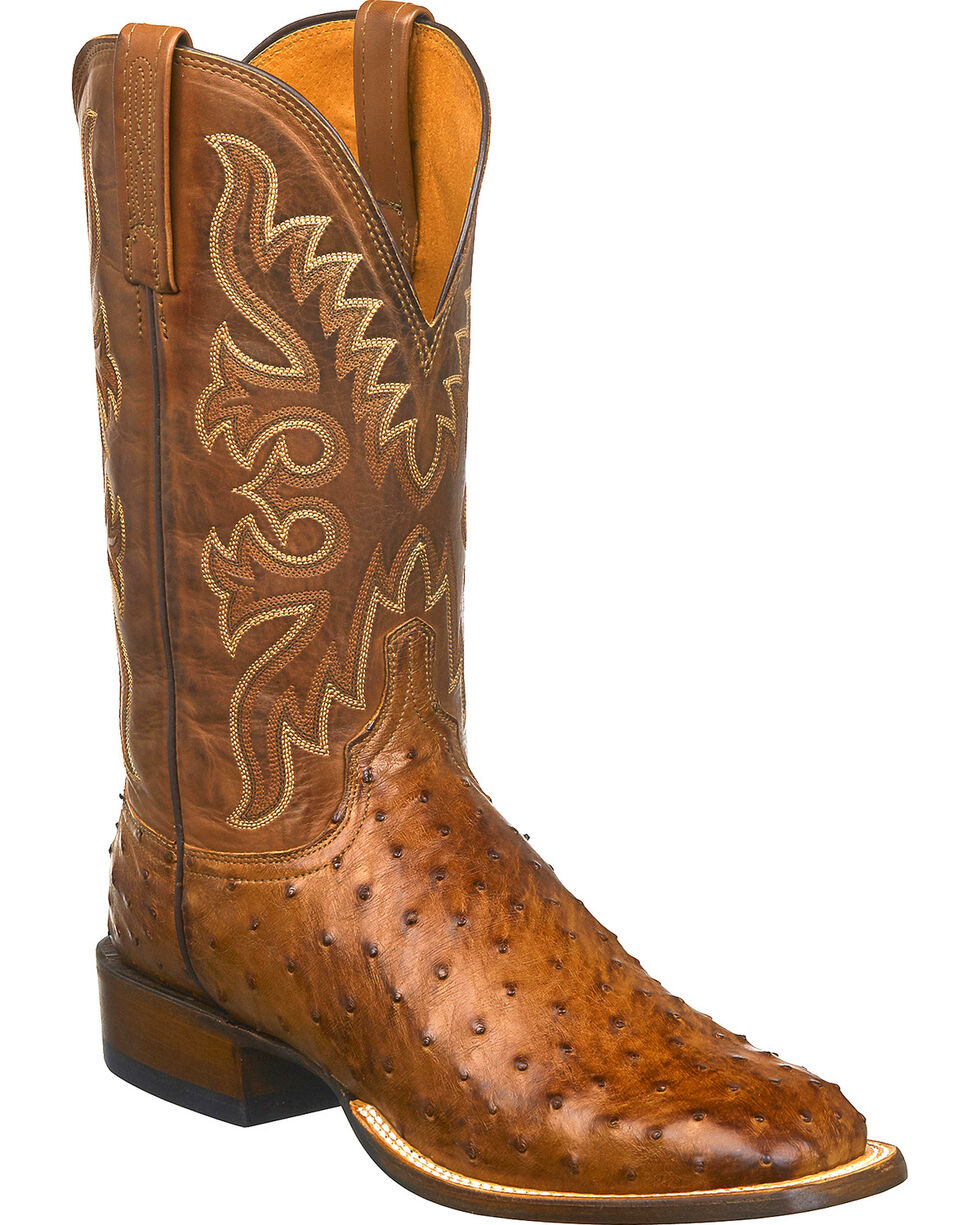 Lucchese Men's Harmon Full Quill Ostrich Exotic Boots, Tan, hi-res