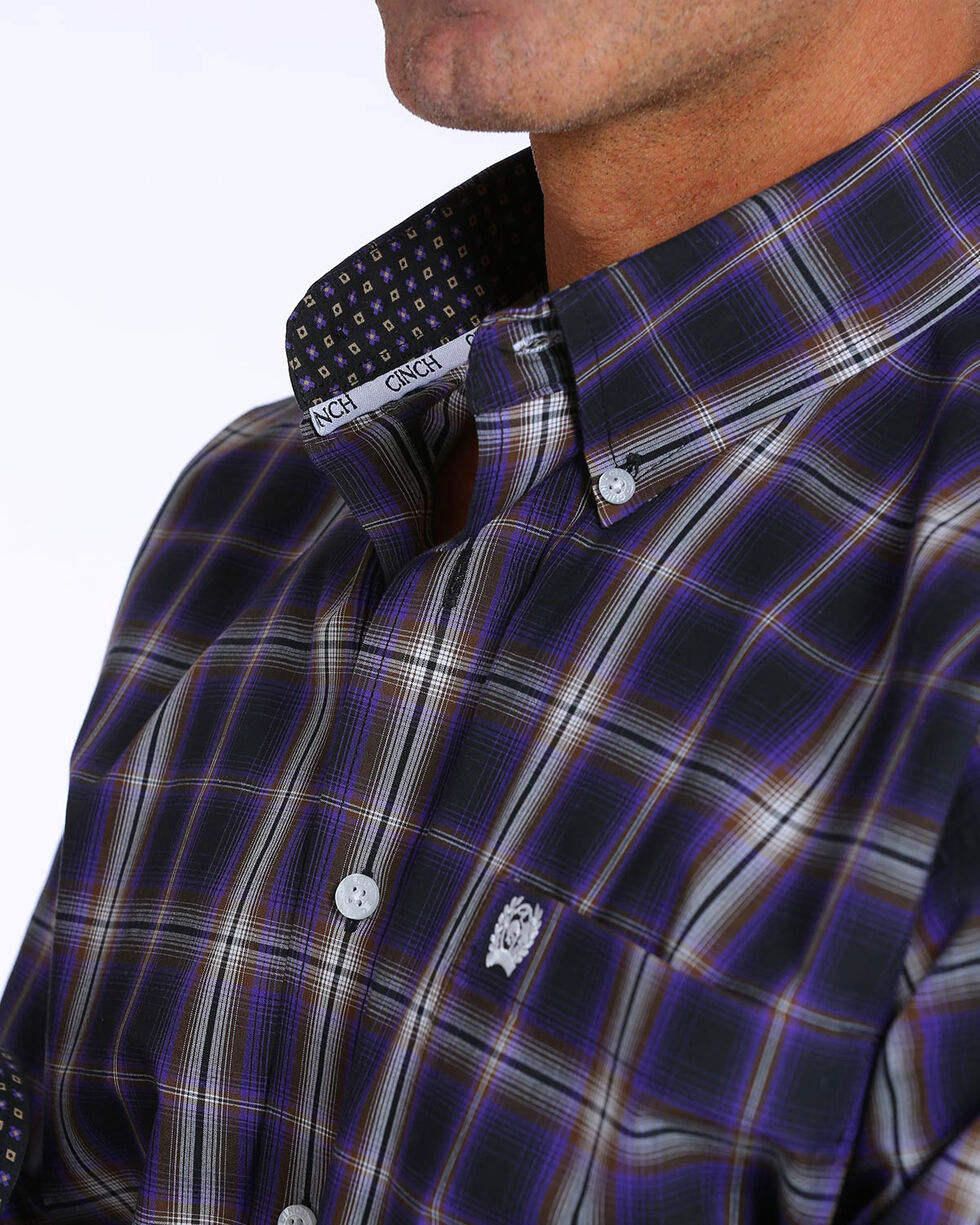 Cinch Men's Classic Fit Plaid Plain Weave Button Down Shirt, Black, hi-res