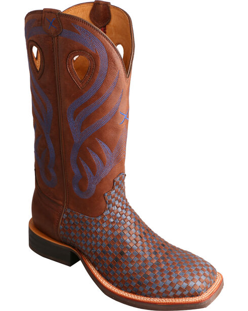 Twisted X Bomber Blue Basketweave Ruff Stock Cowboy Boots - Square Toe  , Brown, hi-res