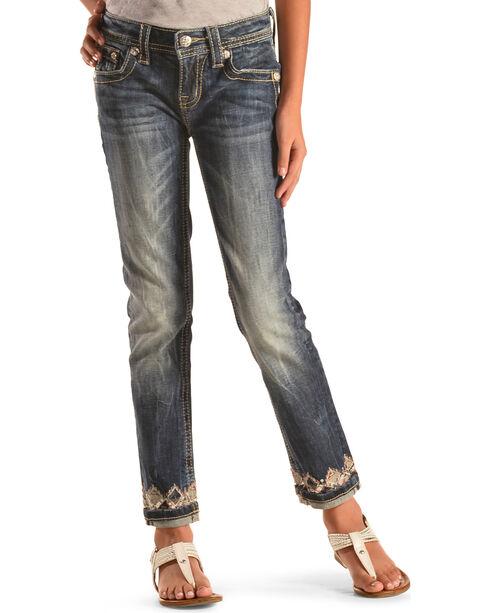 Miss Me Girls' Embellished Cuff and Pocket Skinny Jeans , Indigo, hi-res