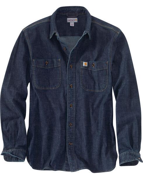 Carhartt Men's Rugged Flex DenimLong Sleeve Shirt, Blue, hi-res