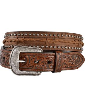 3D Twisted Barbed Wire Leather Belt, Brown, hi-res
