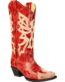 Corral Women's Red Embroidered Western Boots - Snip Toe, , hi-res