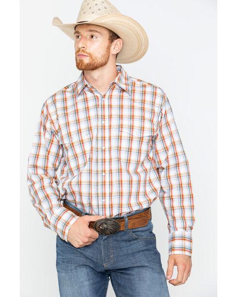 Wrangler Men's Orange Wrinkle Resistant Long Sleeve Shirt , Orange, hi-res