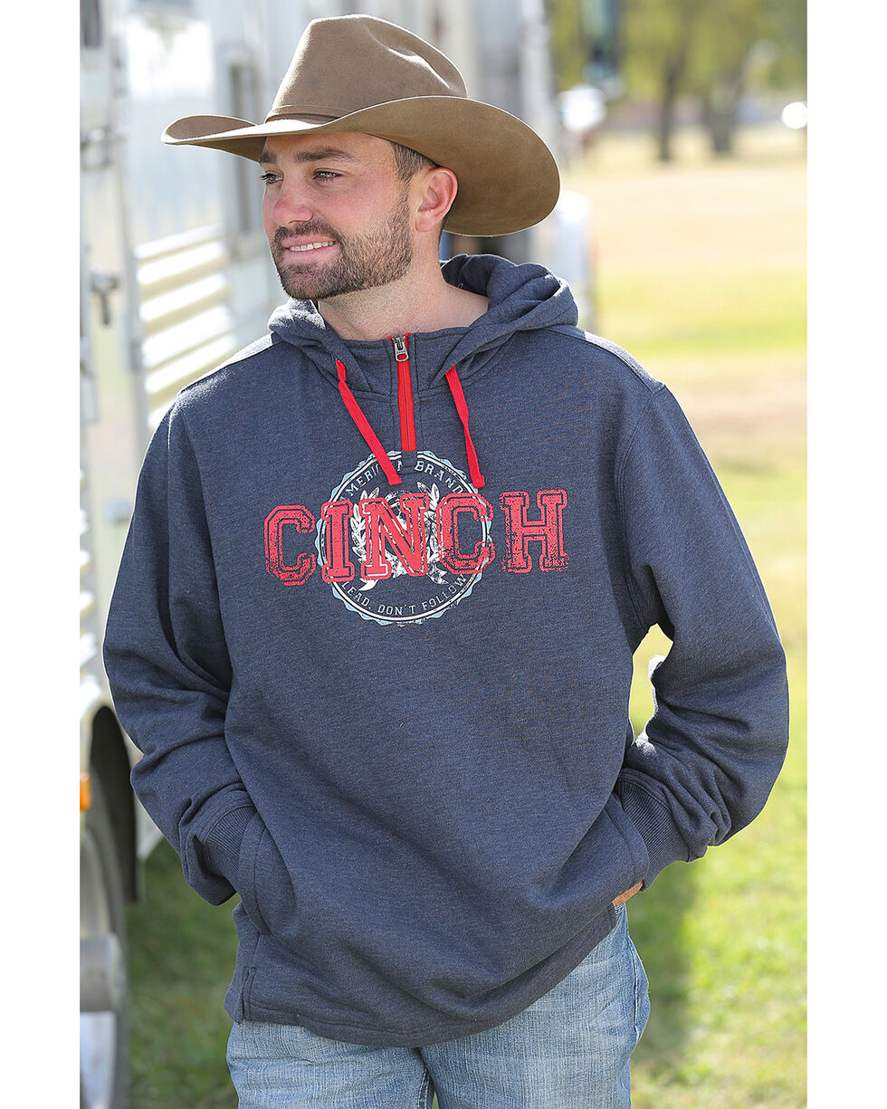 Cinch Men's Navy Pullover 1/4 Zip Hoodie , , hi-res