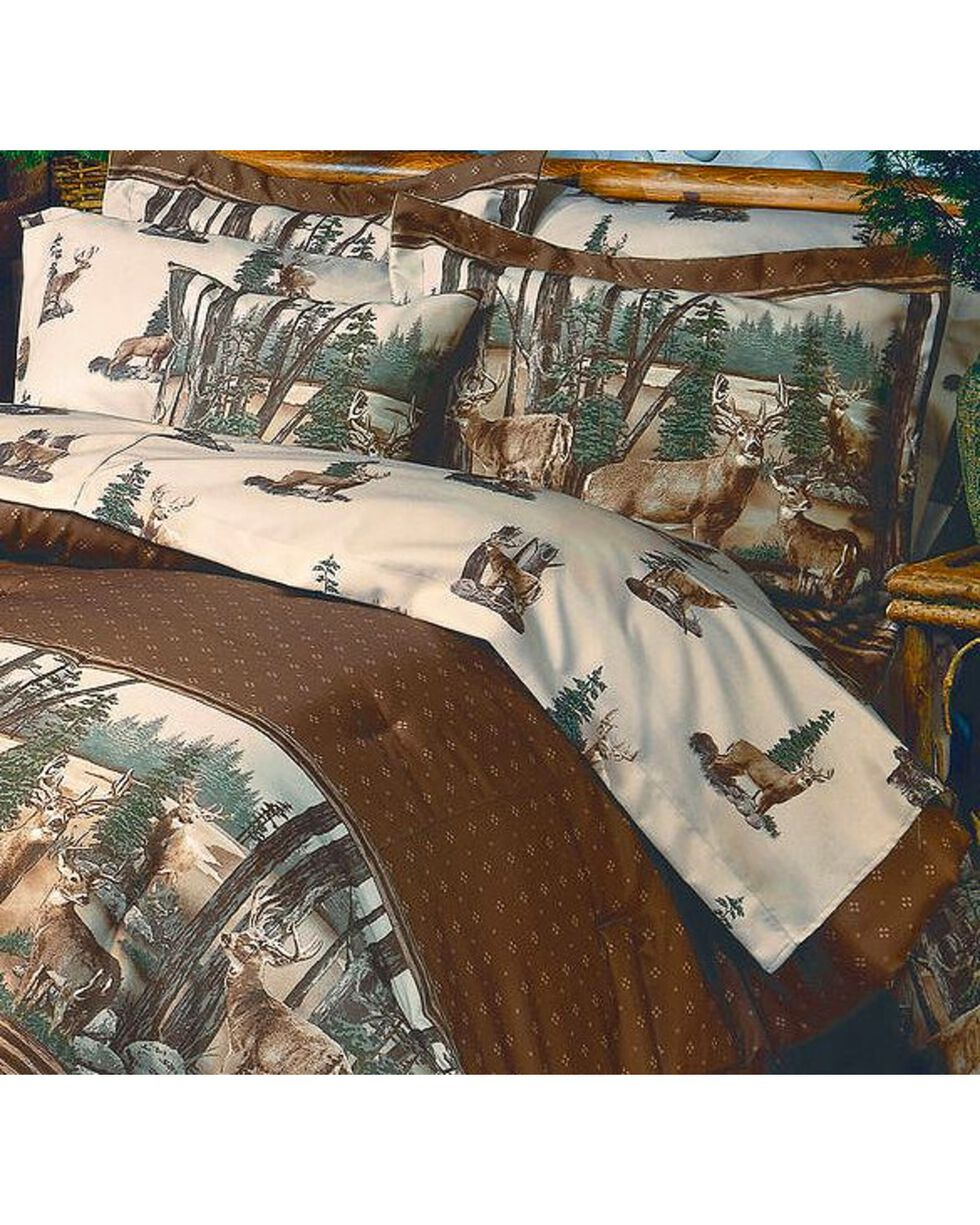 HiEnd Accents Blue Ridge Trading Whitetail Dreams King Sheet Set, Brown, hi-res