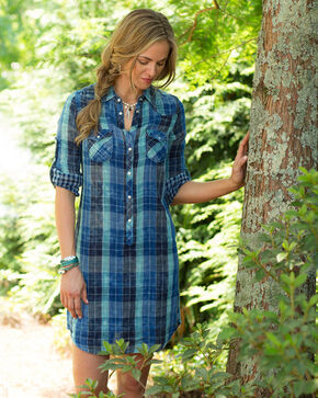 Ryan Michael Indigo Lake Travis Plaid Dress, Indigo, hi-res