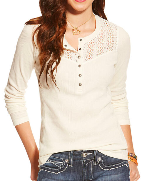 Ariat Women's Daisy Lace Henley, White, hi-res