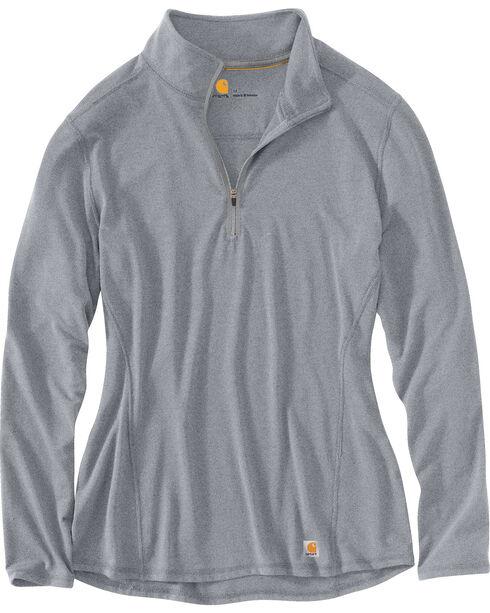 Carhartt Women's Force Performance Quarter-Zip Shirt, Grey, hi-res