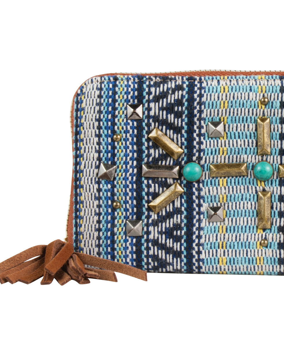 Catchfly Women's Blue Woven Wallet , Blue, hi-res