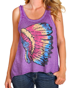 Rock & Roll Cowgirl Women's Headress Graphic Tank Top, Purple, hi-res